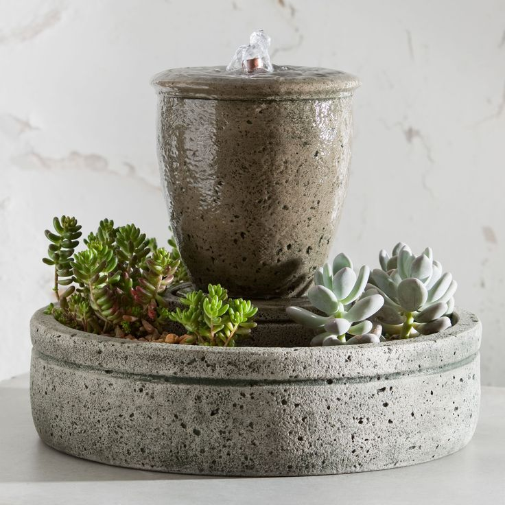 Have to have it. Campania Cast Stone Rustic Spa Garden Terrace Fountain with Planter $229.99