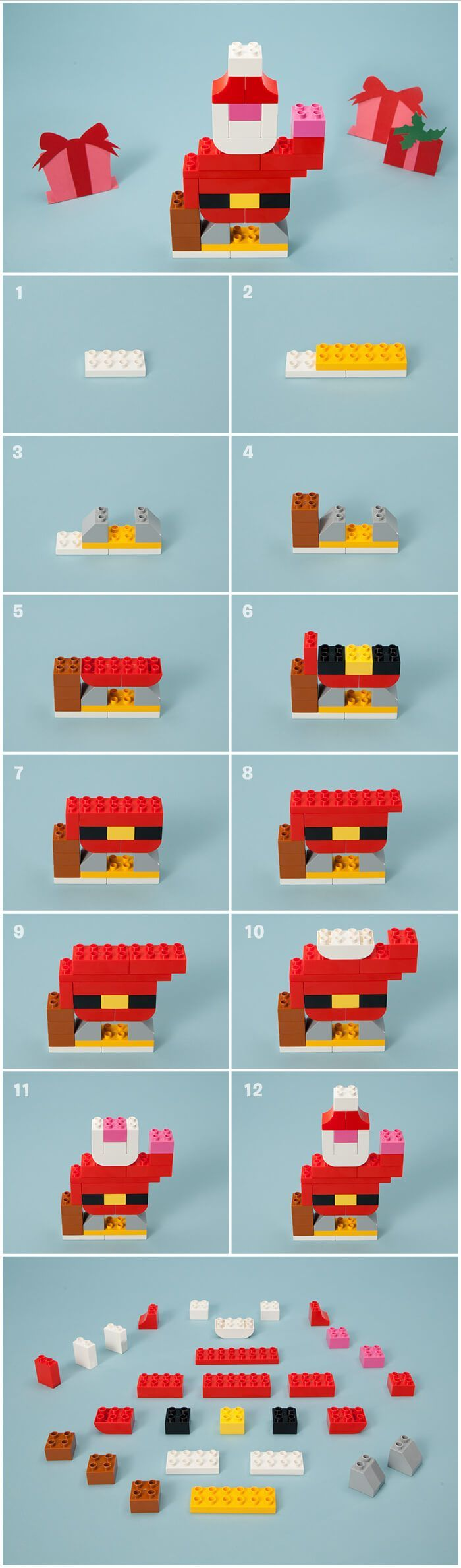 What is Santa up to during the weeks before the holidays? If you have these LEGO® DUPLO® bricks (similar bricks should work, too), combine them with our free Santa building instruction card for a creative stocking stuffer.
