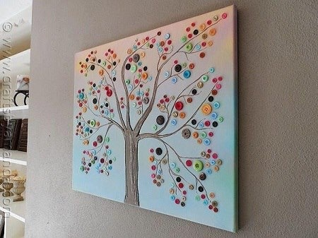 Canvas, paint and buttons!
