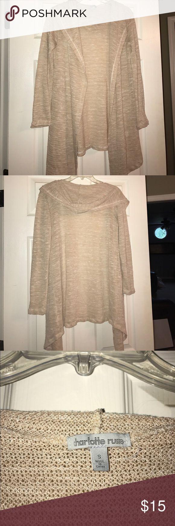 Tan Charlotte Ruuse Cardigan tan charlotte russe cardigan w/ hoodie. would be cute w/ a nice shirt w/ jeans. Charlotte Russe Sweaters Cardigans