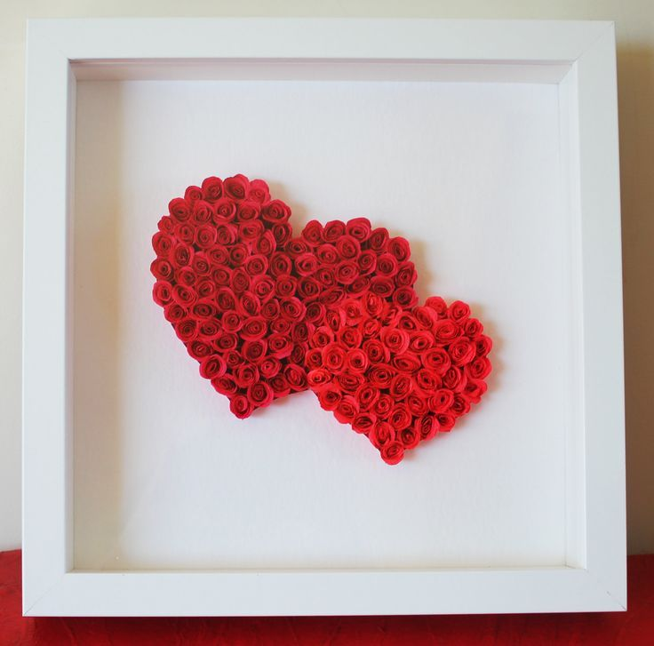 Shadow Box 2 Hearts With Roses Valentine S Day Gift Mother S Day