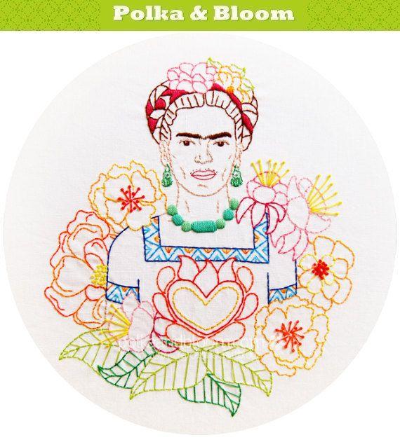 Las Flores de Frida Frida's Flowers Embroidery by polkaandbloom