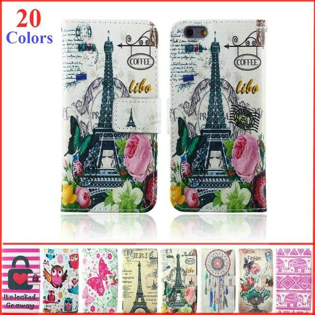 Leather Wallet Case For iPhone 6 Flip Book Style Cover Case For iPhone 6 4.7 inch cell phone Case with Card Holder bright Colour