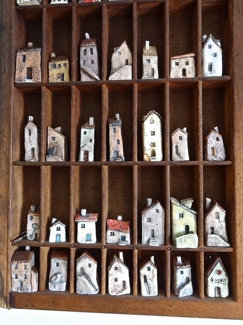 Printers tray full of houses all shapes and sizes... mmm Find these on www.thecherryheart.etsy.com