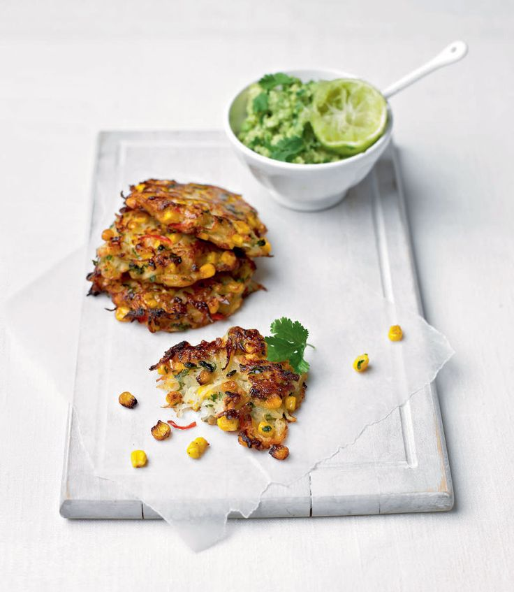 spiced sweetcorn and potato fritters with guacamole potato fritters ...
