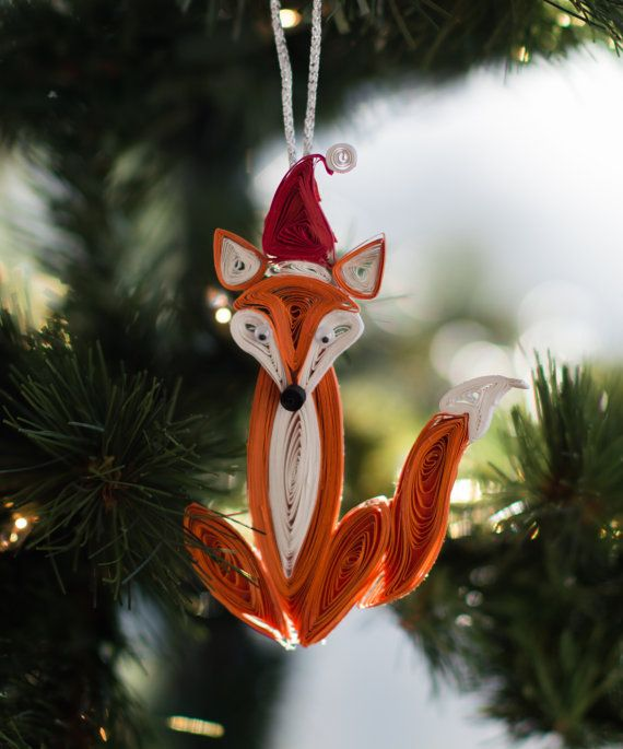 Fox Christmas Ornament Whimsical Christmas by ofthingspretty