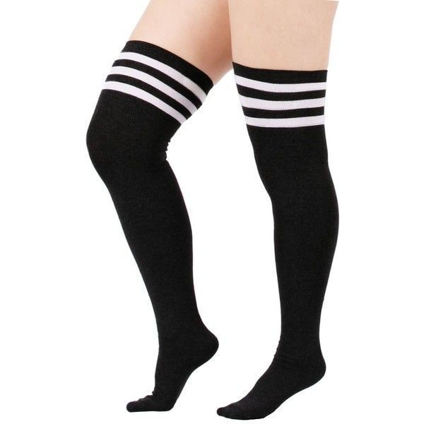 Zando Women's Stretchy Over the Knee High Socks Plus Size Thigh High... (27 BRL) ❤ liked on Polyvore featuring intimates, hosiery, socks, wide socks, knee socks, knee hi socks, white socks and plus size socks #kneehighsocks
