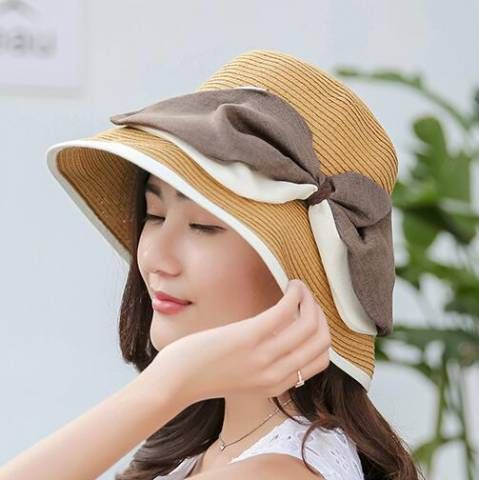 Large bow straw bucket hat for women uv protection effect summer hats 8b8ff4ae219f