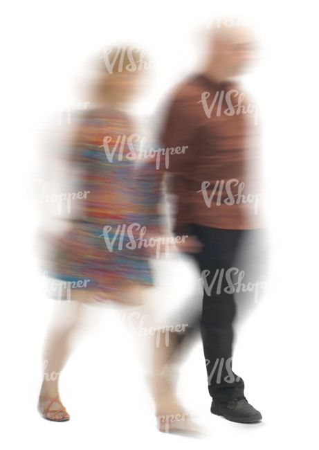 motion blur image of a couple walking