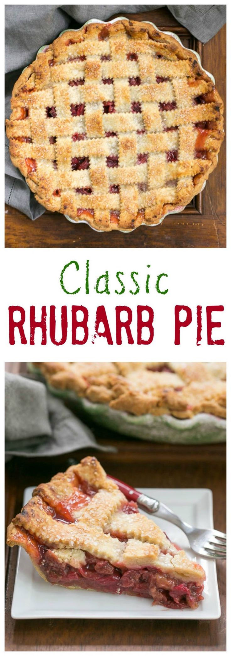 I grew up with a big rhubarb patch in our backyard. On occasion, my mom would surprise us with this Classic Rhubarb Pie. Double crust, no custard, just plain delicious!