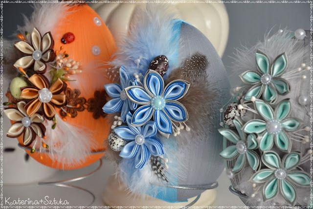 Katerina Sztuka Jajka Pisanki Ze Wstazek I Kwiatow Kanzashi Wielkanoc 2017 Fabric Ornaments Ribbon Art Crafts