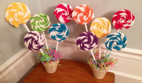 Lollypop Plants for Candy themed parties (Sweet Shoppes, Candy Stores, Candyland, Hansel and Gretel or Candy Buffets)