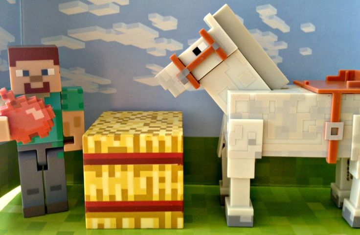 Cool Minecraft Toys : Minecraft steve horse apple hay bale toys for