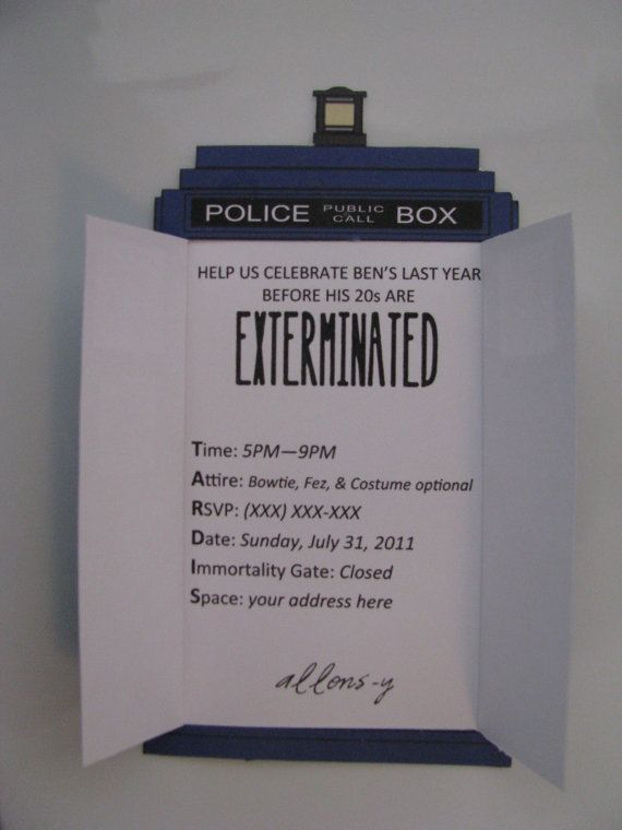Doctor Who birthday invite