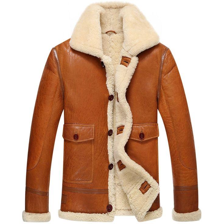 $476   Leather Jacket Men Shearling Coat Pilot Outerwear B3 Men Casual Lapel Parka