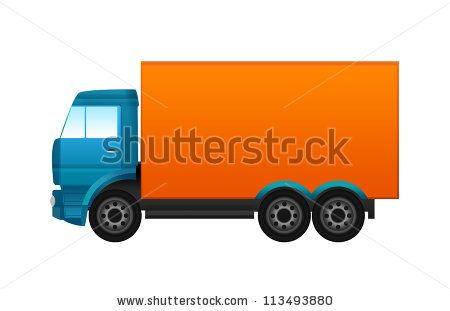 Blue and orange truck - stock photo