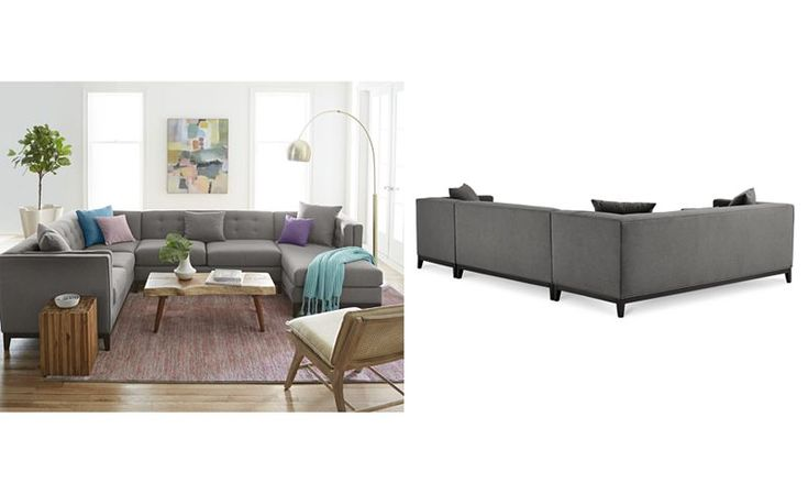 Braylei 3-Pc. Tufted Sectional w/ Chaise & 3 Toss Pillows, Only at Macy's - Sectional Sofas - Furniture - Macy's