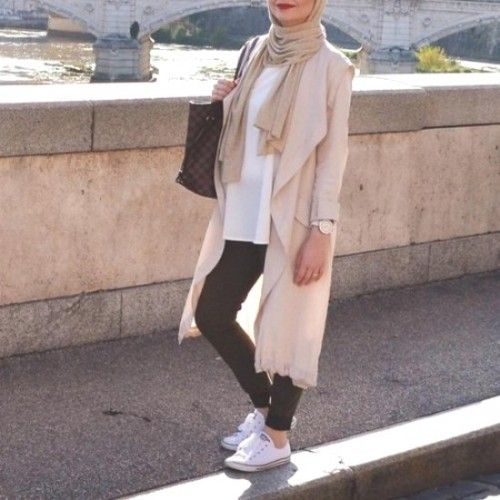 pastel trench coat with adidas- How to style Adidas shoes with hijab http://www.justtrendygirls.com/how-to-style-adidas-shoes-with-hijab/