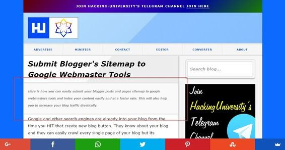 Display Post Search Description in Blogger below Heading