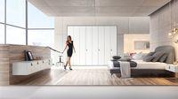 design collection: hülsta - Die Möbelmarke Design bed leer Zwevende nachtkast / ladenkast wit gelakt met handgreep leer