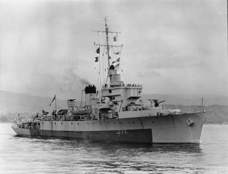 HMS Bramble underway. The 1300 ton minesweeper went into the attack when confronted by the eight inch guns of the 16,000 ton Admiral Hipper and was sunk with all hands.1942
