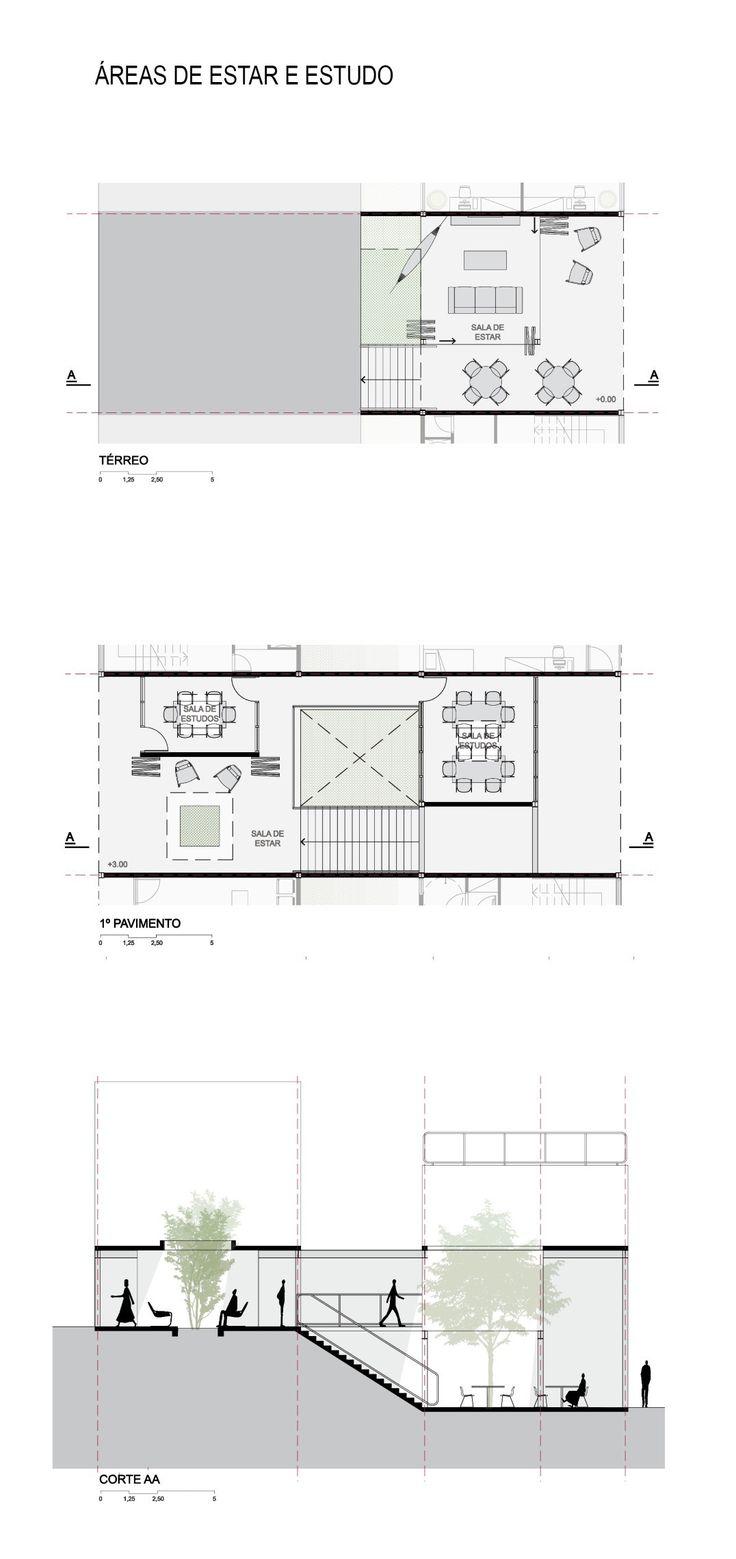 Imagem 6 de 16 da galeria de 5° Lugar no concurso para Moradia Estudantil da Unifesp Osasco / Bacco Arquitetos Associados. Áreas de estar e estudo. Image Cortesia de Bacco Arquitetos Associados