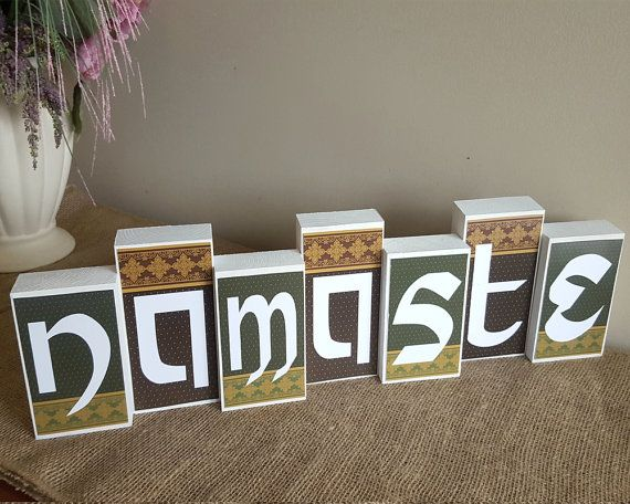 Namaste Wooden Blocks Sign - Sanskrit Hello - Mantle Decoration - Namaste Blocks - Mantle Centerpiece - Block Home Decor - Wood Block Sign