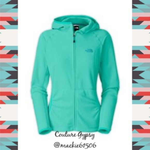 NWT North Face Aqua Zip Hooded Fleece Jacket XL Authentic Women's New with tags aqua fleece full zip hooded jacket with pale gray letters, size XL .  Pics on bottom are actual jacket .  Price is firm unless bundled.  BUNDLE 3 OR MORE ITEMS FOR 15% OFF DISCOUNT North Face Jackets & Coats