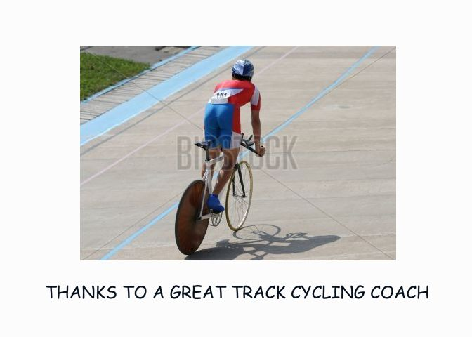 Thanks To Track Cycling Coach Illustration Of Cyclist On