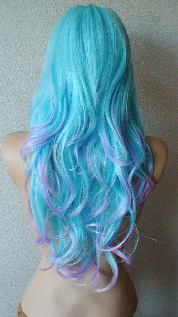 Anniversary Special Blue/ Purple wig Long wavy hair by kekeshop, $107.50