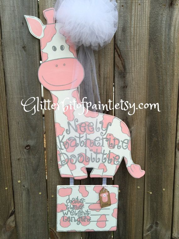 Hospital Door Hanger With Birth Announcement Plaque And