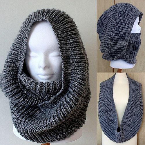 Ravelry: Oxford Hooded Cowl pattern by Julia Noskova {free}.  Love this piece ... so versatile.