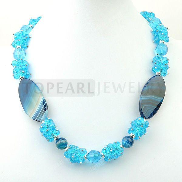 Topearl ювелирные изделия синий агат с кристаллами из бисера ожерелье 21 дюйм(ов) GN182