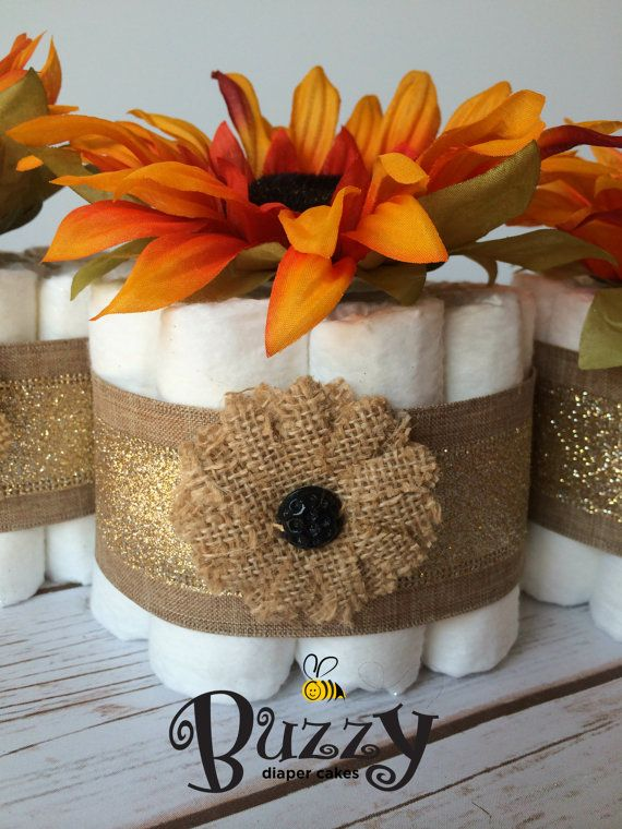 MINI FALL BURLAP Diaper Cakes, Fall Inspired Set Of 3 Diaper Cake  Centerpiece For Baby