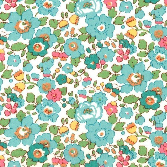 Liberty Tana Lawn Betsy Turquoise Fabric Half Yard on Etsy, $17.50