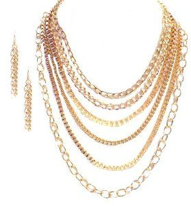 Fashionable Multi-Layered Chain Necklace and Matching Earring Set #krissylovesbling