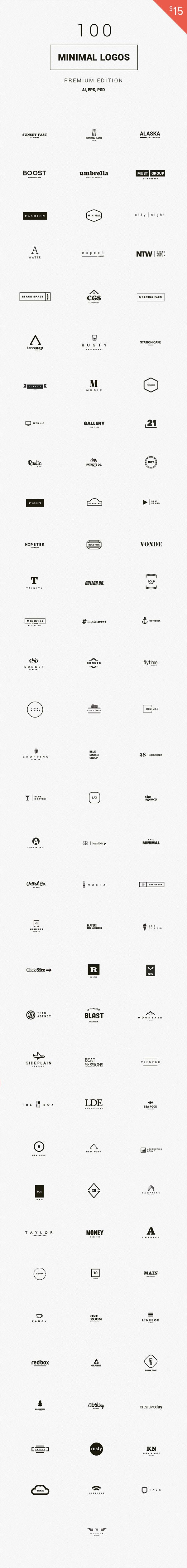 Get yourself an impressive collection of 100 minimal logo templates and use them for your branding projects...