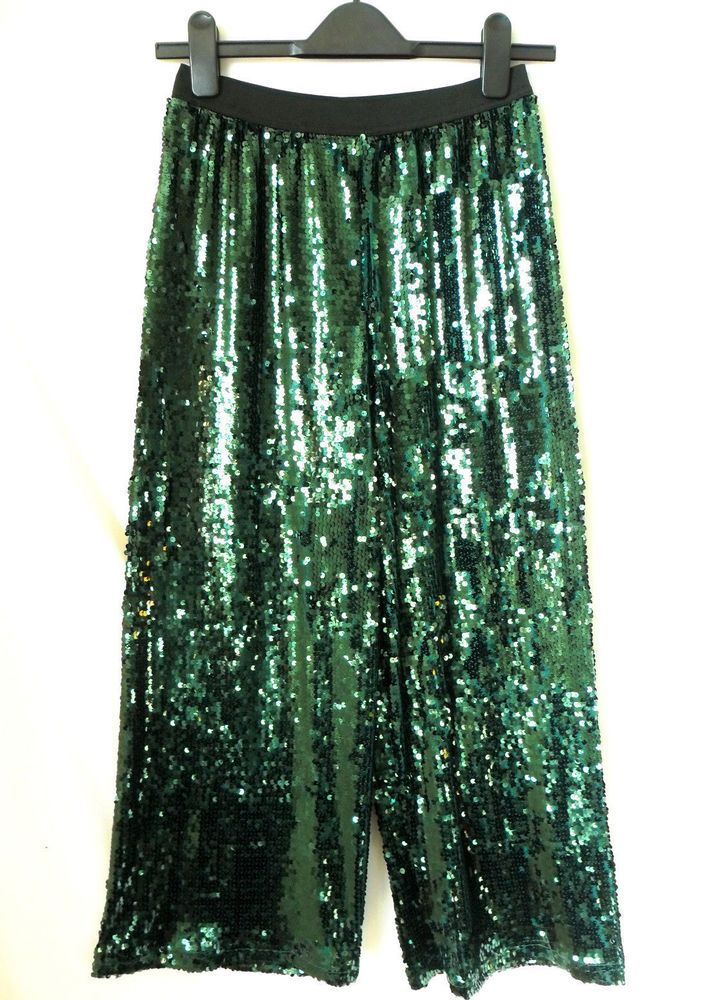 eded2c65 Primark Ladies Green Sparkly Sequin Culottes Trousers Christmas Party Size  UK 10 #fashion #clothing #shoes #accessories #womensclothing #pants (ebay  link)