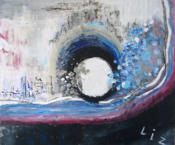 Abstract painting in black and white with blue and pink