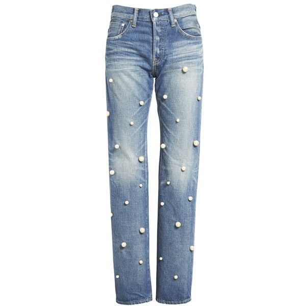 Women's Tu Es Mon Tresor Faux Pearl Embellished Jeans ($785) ❤ liked on Polyvore featuring jeans, pants, blue jeans, slouch jeans, cuff jeans, faded jeans and faded blue jeans