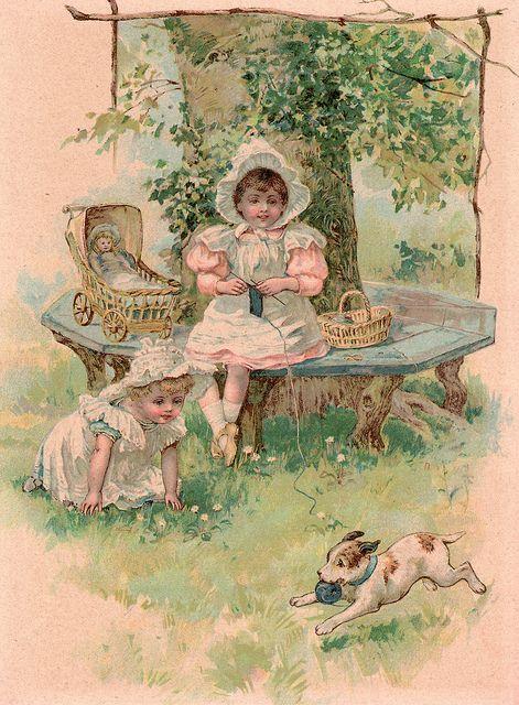 Vintage picture, litttle girl knitting