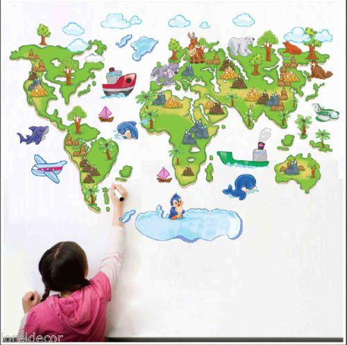 Pegatinas infantiles decorativas mapamundi med80 120cm - Mapa mundi mural ...