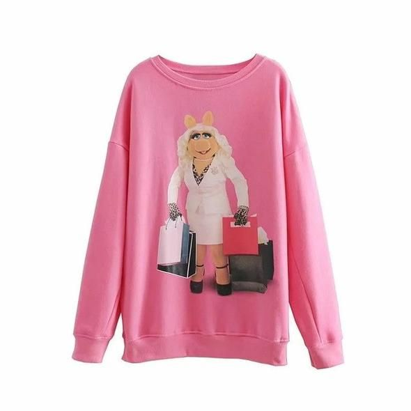 Jenny&Dave hoodies women BTS harajuku cotton hoodies print cartoon Miss pig letter oversize sweatshirt plus size tops 0911
