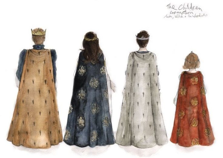 Peter, Susan, Edmund, and Lucy from the back at their coronation...aww Lucy's so little!