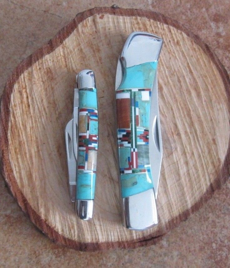 2 SOUTHWESTERN STAINLESS STEEL pocket knife set small 3 blade & large single bld