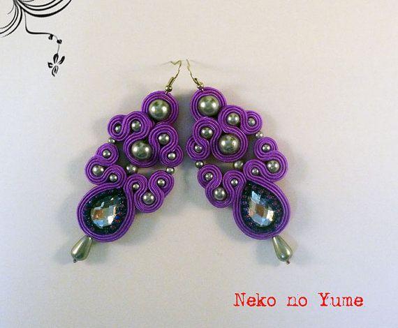 Soutache earrings  Crystal by IzabelaCichocka on Etsy