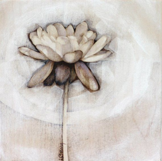 water lily.  pyrography and casein paint on wood.