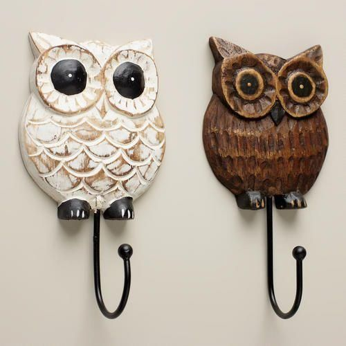 Wood Owl Hooks, Set of 2