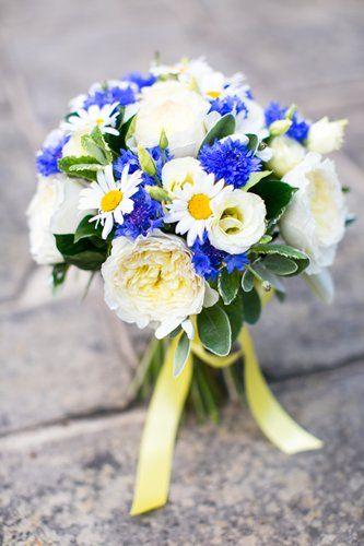 Fresh Springtime Wedding Bouquet Arranged With: Blue Cornflower, White Lisianthus, White English Garden Roses, White/Yellow Daisies & Green Foliage Hand Tied With A Pretty Yellow Ribbon ••••