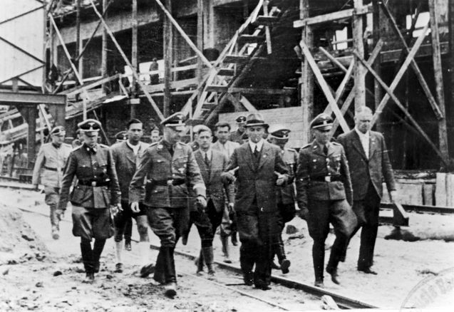 Auschwitz, Poland, Himmler visiting the site of IG Farben